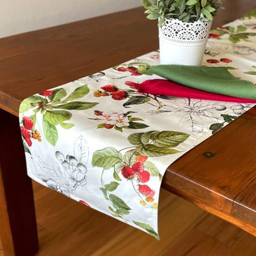Table Runners Double Sided Cotton Cherry