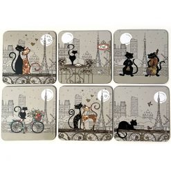 Drink Coasters Cats in Paris Set of six