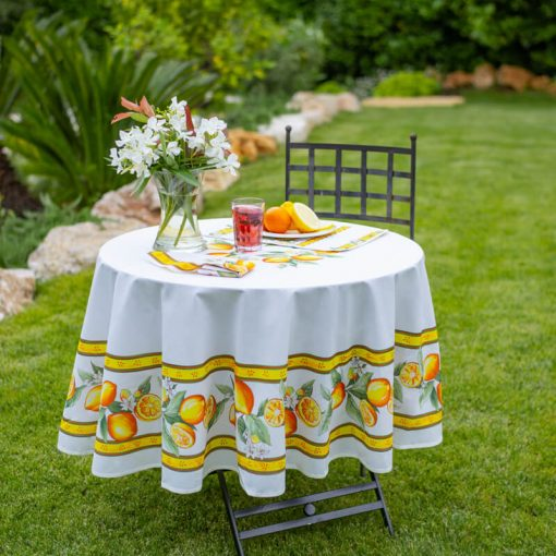 Citron Round French Tablecloth