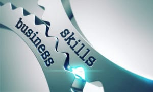 Cogs with wording 'business skills' written on them