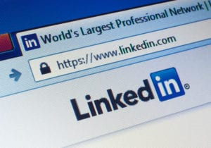 LinkedIn Logo and URL entered into search bar